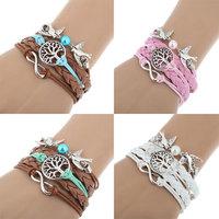 Fashion Women Multilayer Braided Bracelets Pearl Bird Woven Leather Rope Bracelet Multi Colors Infinity Bangle