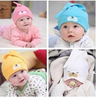 Baby Hat Toddlers Boys Girls Caps Newborn Bear Sleep Hats Spring Autumn Baby Cotton Cartoon Animal Cap Free Shipping Wholesale