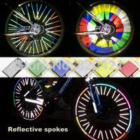 12PCS/lot Bright Reflective Circle spokes fly wire anchoring strip road mountain bike spokes reflective warning strips