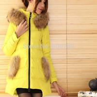 2014 New Fashion women winter jacket Long Style Large fur collar Zipper Slim Thicken Hooded coat Women duck down jacket Hots