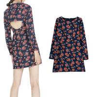 New Fashion 2015 Spring Women Vintage Long Sleeve Backless Flower Print O neck Dress Casual Ladies Slim Sexy Mini Dresses PS0638