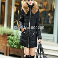 New 2014 jacket winter coat thicken Slim female raccoon fur collar and long coat women parka winter coat free shipping hots