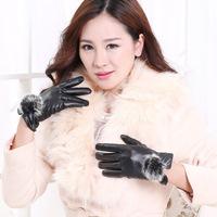 HOT! Women Gloves cute Rabbit hair balls wool warm PU leather gloves
