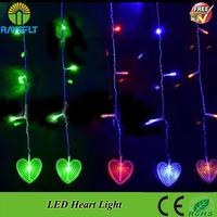 3pcs/Lot 220V Flashing Heart Curtain Lights Lighting string Party Wedding Festive LED Xmas Multi-color Indoor Outdoor LED string