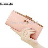 Free shipping 200pcs/lot Women wallet Golden Bowknot Long PU Leather Card Holders Clips Buckle Open Wallets Clutch Case Purse