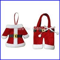 Fancy Santa Suit Christmas Silverware Holder Pockets Dinner Table Decor 400pcs
