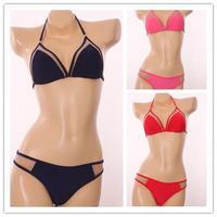 2015 New Women's Bandage Bikini Set triangle bikini Mesh Swimsuit Bathing Suit Biquini Swimwear Halter Top Size S-XL
