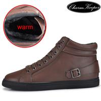 New big size genuine leather men boots winter man boot snow warm ankle flats Autumn shoe lace up velvet  sapatas botas 542