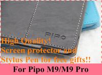 Original Pipo P9 Case Leather Pipo M9 Pro Case Pipo M9 Case Cover Wifi 3G Tablet PC + Free Screen Film+ Stylus Pen.