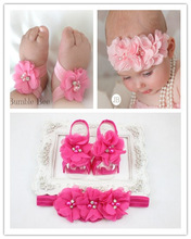2015 New Baby Girl Flower Shoes with Flower Headband First Walkers Newborn Toddler Barefoot Sandal Shoes