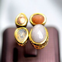 Hot Sale High Quality Women Ancient Mysteriou Brand Ring Citrine Topaz Natural Stone Rings Cat's Eyes Opal Finger Ring For Party