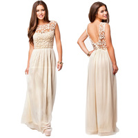 2014 Newest Fashion Elegant Lace Long Backless Women Summer Dress Beige Casual Party Dresses Cute Hollow Out Vestido Hot Sale