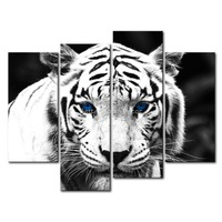 3 Piece Black & White Wall Art Painting Blue Eyed Tiger Print On Canvas The Picture Animal 4 5 Pictures