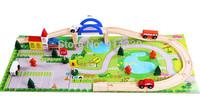 Wooden rail overpass city traffic combination blocks DIY city traffic wooden toys HWWD012