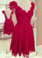 New 2014 Hot Sale Red Dress Women V-neck Backles Vestido de renda Sexy Lace Dress Party Dresses Vestidos casual free shipping
