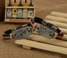 2pcs Cupid stone mandrel leather bracelet jewelry lovers hot leather bracelet two colors for choose couple