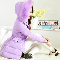New Arrived thickening slim large fur collar winter outerwear women medium-long down coat  plus size jacket