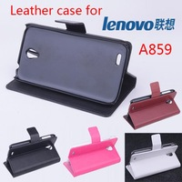 Free shipping Leather PU case for Lenovo A859 phone case