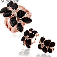New Fashion 18k gold plated  jewelry set crystal flower pendant& earrings jewelery sets for women  Nickel and lead free shipping
