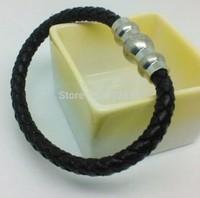 Elegant fashion 316L stainless steel gold/silver plated magnet buckle black leather woven men bracelets bangles