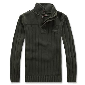 2014 осень и зима свободного покроя мужской свитер из 100% хлопка подставка воротник ...