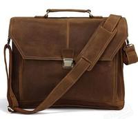 Natural crazy horse leather briefcases man business men's messenger bags men briefcase  men's travel  shoulder tote bags 2015
