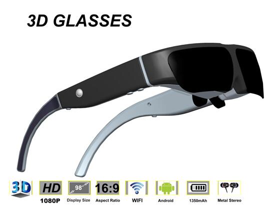 sistema android occhiali video 3d con wifi