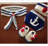 New Coming The Navy Design Baby Photography Props Handmade Infant Toddler Costume Outfit Hat Diaper and Shoes