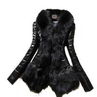 50% Off New 2014 Winter Women's Winter Faux Fur Coat V-neck Long Sleeve Luxury Black Leather Outwear Jacket Casacos Femininos