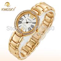 New Fashion Kingsky Roman Hours Relogio Feminino Quartz Clock Women Rhinestone Casual Dress Watch Gold Women Wristwatch for Gift