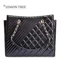NEW 2014 women handbags genuine leather bags women messenger bag shoulder bag fashion sheep plaid chain handbag crossbody bolsas