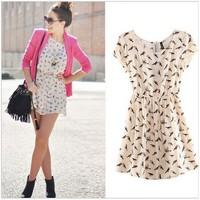 New Fashion 2014 Bargain HOT SALE Women Spring Summer O-neck short sleeve Animal Bird Print Casual Vintage Mini Dress, Plus Size