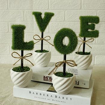 Украшение Керамическая ваза ЛЮБЛЮ искусственные цветы Комнатные искусственные цветы украшают растение Флокирование набор цветов бесплатная доставка
