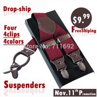 Big promotion 4colors gentleman casual leather suspenders Adjustable 4 clips Men's suspenders clip Fashion Suspenders strap