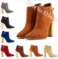 2014 Plus Size 35-42 10 11 Flock Thick Block Heel Boots Quality 10cm Heel Boots Wood Grain Women's Pumps Shoes Winter Booots