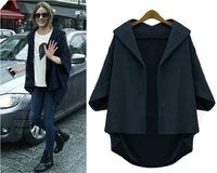 2014 Winter Jacket For Women Fashion Loose Plus Size Batwing Sleeve Women Coat Three Quarter Sleeve Woollen Coat Free Shipping