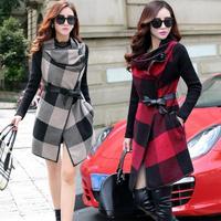 Korean Style Slim Casual Desigual Coat Casual Dress Trench Coat Long Designs Plaid Patchwork Trench Coat For Women Tweed Coat