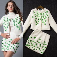 New arrival 2014 winter fashion elegant ladies appliques embroidery  twinset wool coat and skirt set ivory