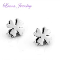 Fashion Women's exquisite 316L stainless steel & gold plated attractive four-leaf clover shape stud earrings(3 pairs per lot)