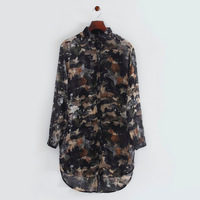 2014 autumn women fashion chiffon camouflage prints shirt turn-down collar long sleeve loose long blouse 216505