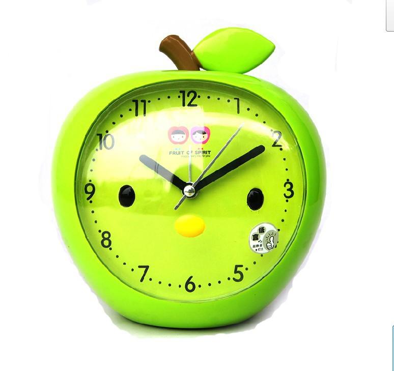 Alarm mute child student voice talking cartoon lazy little small alarm clock creative cute apple(China (Mainland))