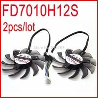 2pcs/lot Firstd FD7010H12S DC BRUSHLESS FAN 12V 0.35A 75mm 40x40x40mm For HD7850 MSI R6790 N560GTX R6850 Video Card Fan 4Pin