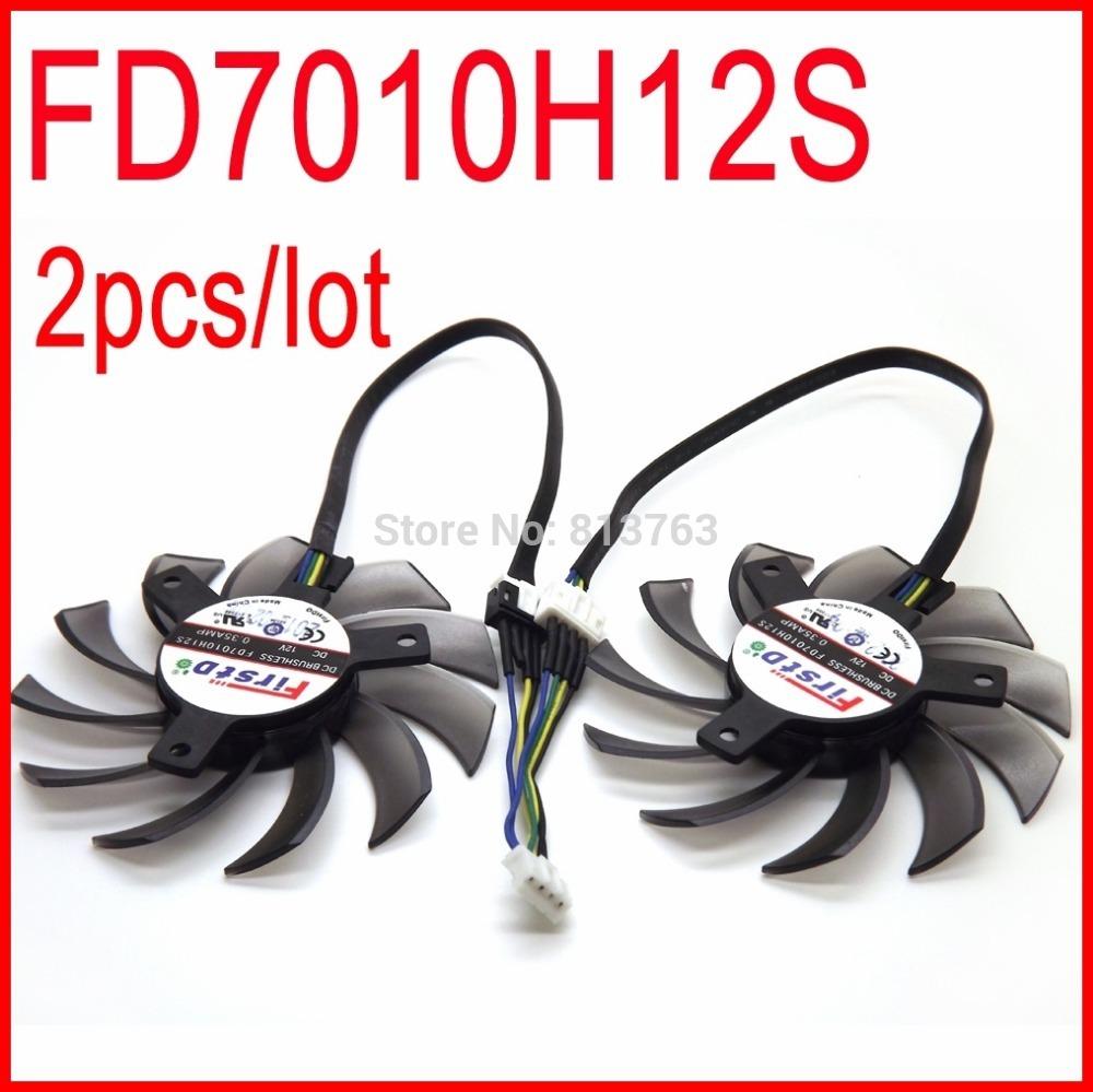 2pcs/lot Firstd FD7010H12S DC BRUSHLESS FAN 12V 0.35A 75mm 40x40x40mm For HD7850 MSI R6790 N560GTX R6850 Video Card Fan 4Pin(China (Mainland))