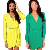 2015 Spring Summer Dress Women Casual Dress V-Neck Candy Color Yellow Green Long-Sleeve Chiffon Dresses Vestidos