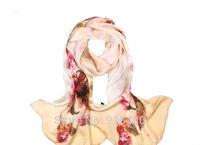 100% mulerry silk pure silk scarf 170cm*50cm long  scarf ,beige print   new arrival digital printing scarves
