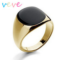DAFU Ring Size 7-12 Black Onyx 18K GP Yellow Gold Men's Ring Style free collocation Free shipping