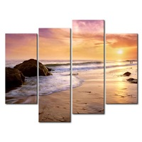 3 Piece Blue Wall Art Painting Zuma Beach Setting Sun Beach Rock Print On Canvas The Picture Seascape 4 5 Pictures