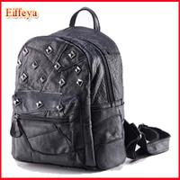 Free Shipping 2015 New PUNK Skull Heads Rivet Preppy Style Backpack Shoulders Bag Women Grils backpack