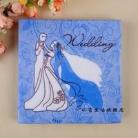 100pcs 33cm blue wedding theme Print table napkin paper tissue towel wedding birdal shower party tableware wedding decorations