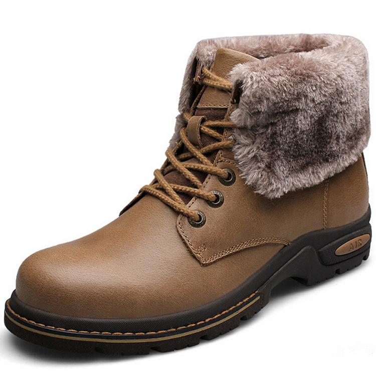 - 50c caldo inverno scarpe da uomo stivali di pelle stivali da neve per scarpe da uomo di pelliccia calda scarpe peluche degli uomini Martin caviglia stivali calzature outdoor